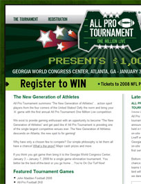 Web Design and Development for All*Pro Tournament
