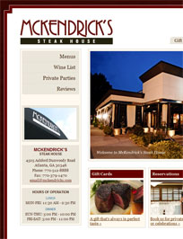 Web Design and Development for McKendrick's Steak House